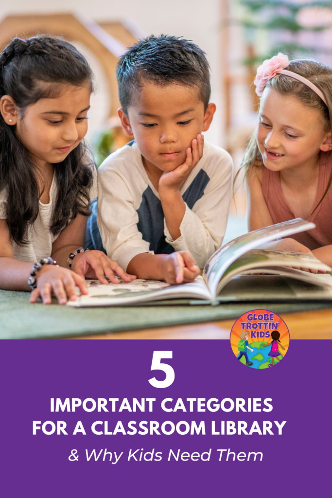 students reading diverse classroom library books