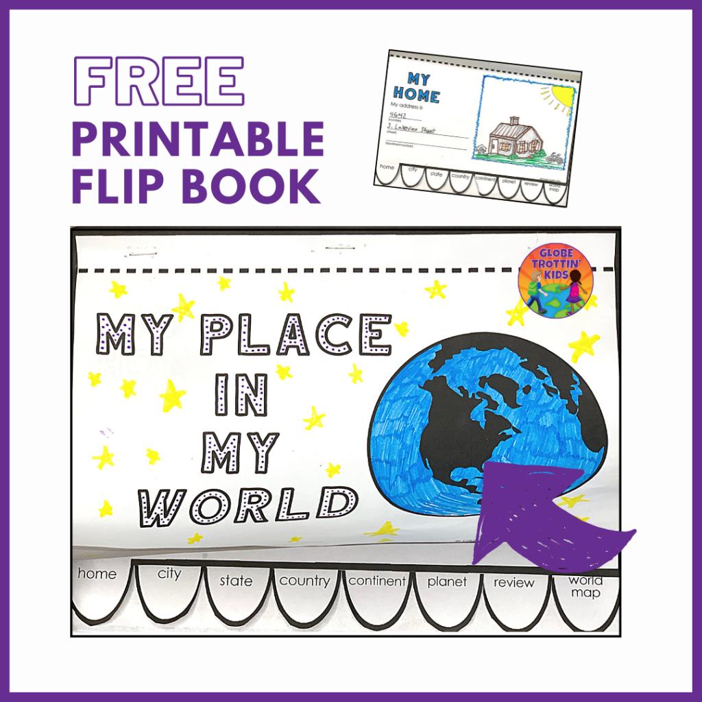 free printable me on a map flipbook