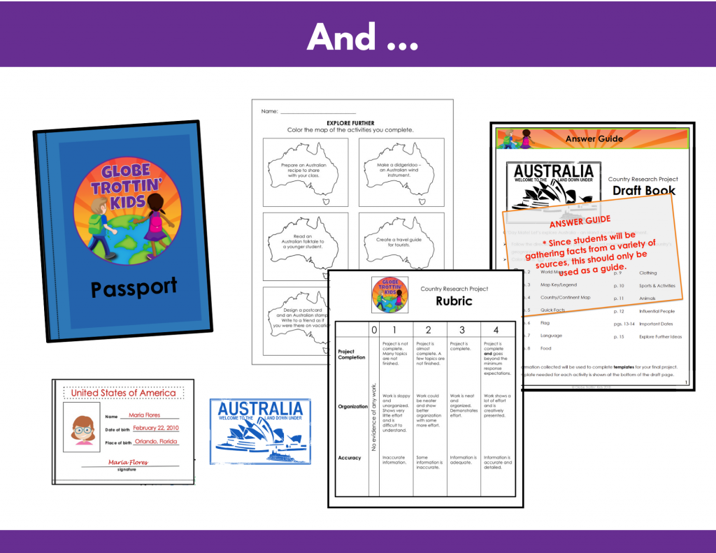 choice board, passport, rubric, answer guide for Australia Research Project