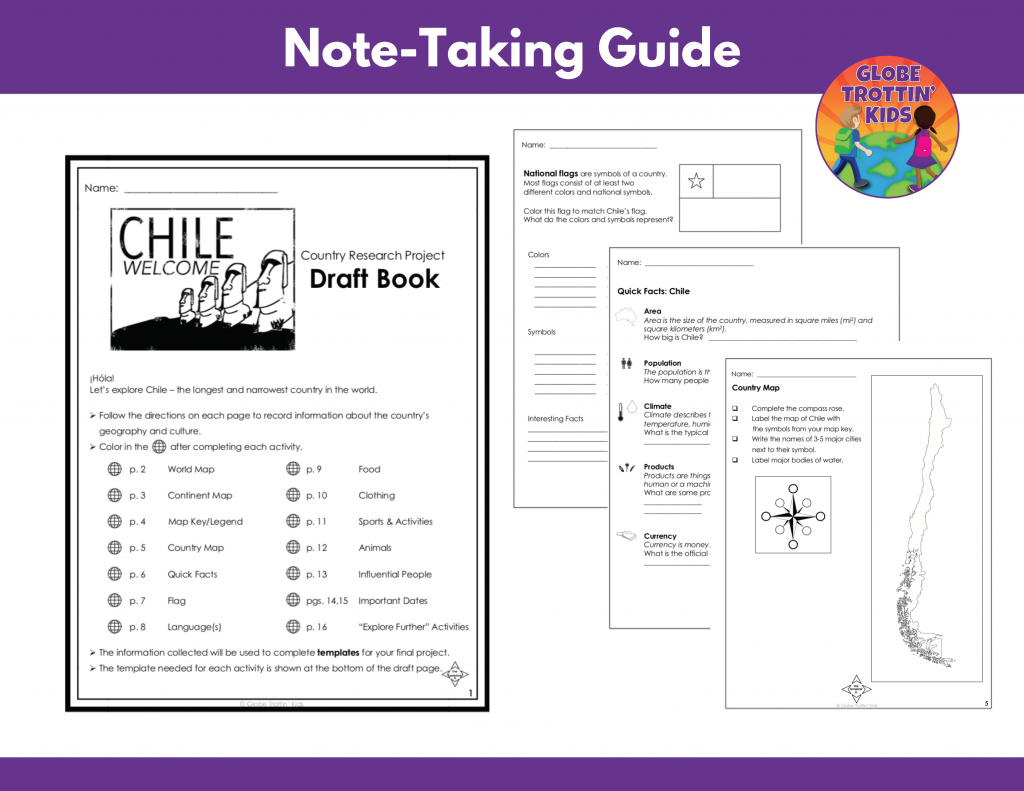 graphic organizers for Chile research project note-taking