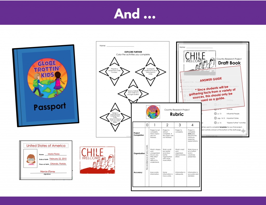 choice, board, passport, rubric, answer guide for Chile research project