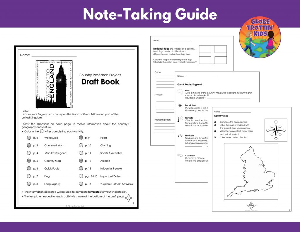 graphic organizers for England research project note-taking