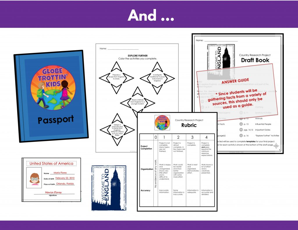 choice, board, passport, rubric, answer guide for England research project